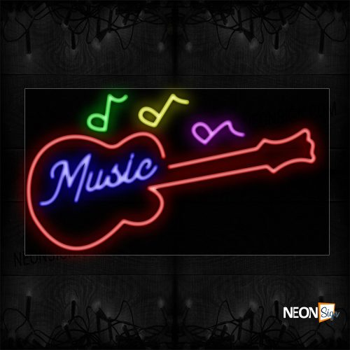 Image of 10683 Music With Guitar And Notes Neon Sign_20x37 Black Backing