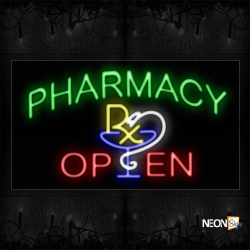 Image of 10690 Pharmacy Rx Open Neon Sign_20x37 Black Backing