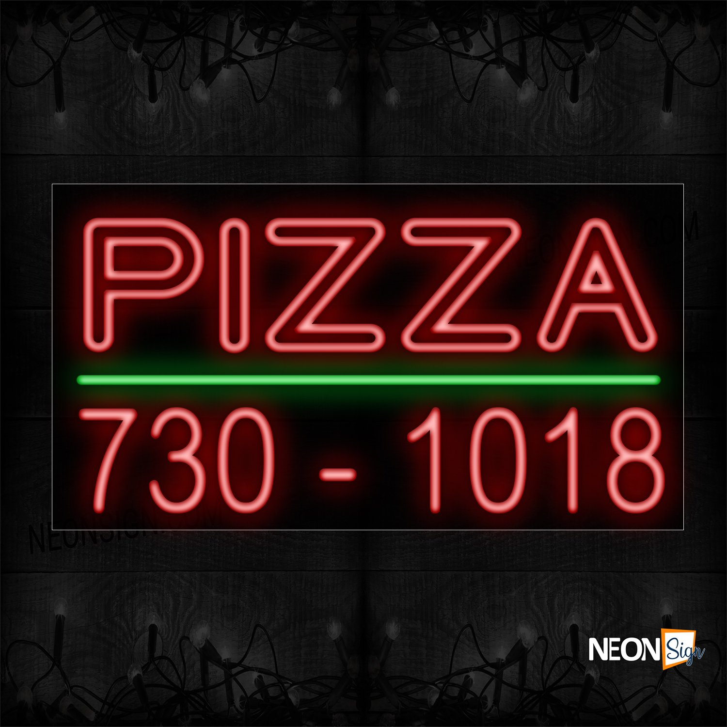 Image of 10691 Double Stroke Pizza And Phone Number with Green Line Neon Sign_20x37 Black Backing