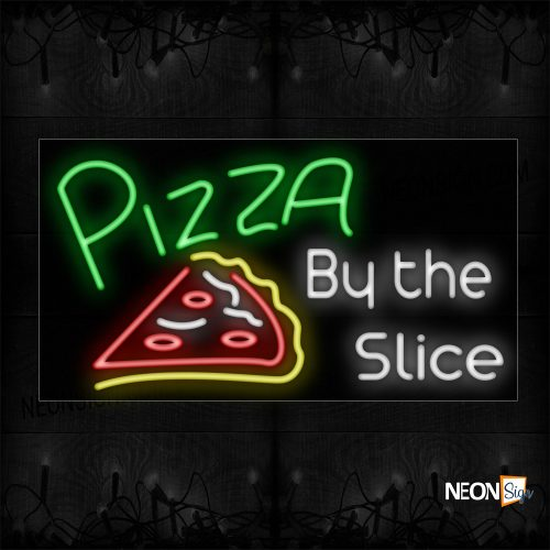 Image of 10692 Pizza By The Slice With Sliced Pizza Neon Sign_20x37 Black Backing