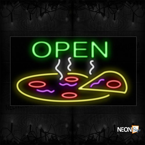 Image of 10693 Open With Pizza Logo Neon Sign_20x37 Black Backing