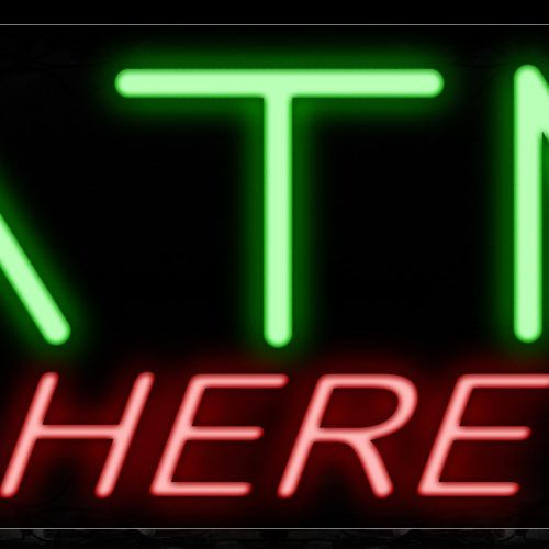 Image of 10713 ATM Here with blue lines Neon Sign_13x32 Black Backing