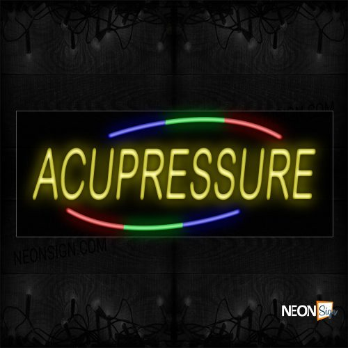 Image of 10722 Acupressure In Yellow With Colorful Arc Border Neon Sign_13x32 Black Backing