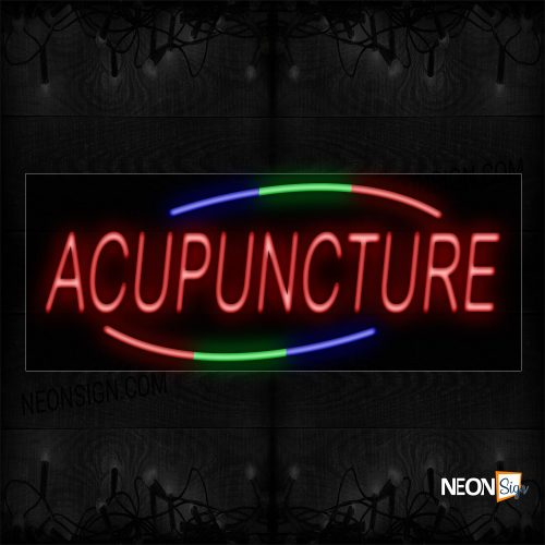 Image of 10723 Acupuncture In Red with Colorful Arc Border Neon Sign_13x32 Black Backing