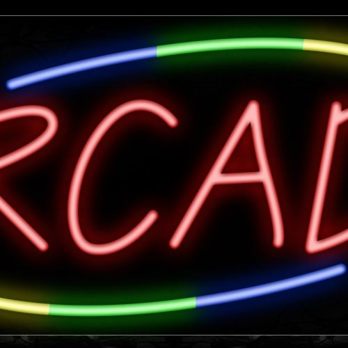 Image of 10729 Arcade with colorful arc border Neon Sign_13x32 Black Backing