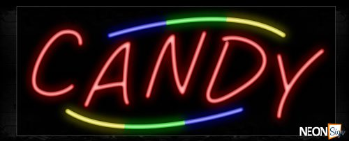 Image of 10756 Candy with colorful curve line Neon Sign_13x32 Black Backing