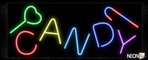 Image of 10757 Colorful CANDY Neon Sign_13x32 Black Backing