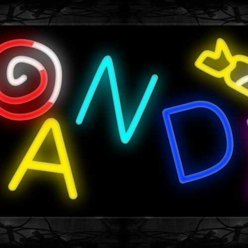 Image of 10758 Colorful CANDY with logo Neon Sign 13x32 Black Backing