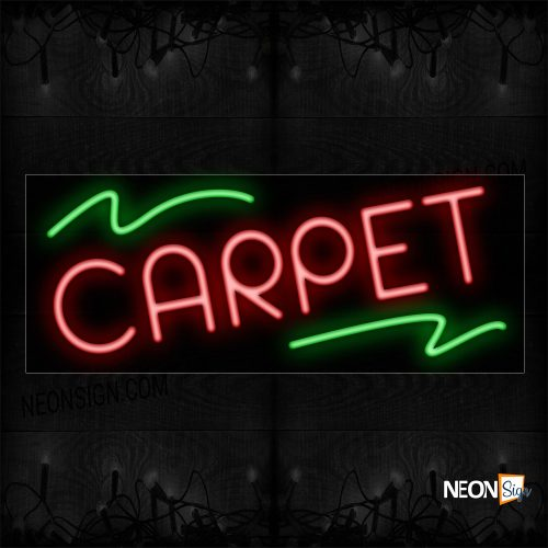 Image of 10760 Carpet In Red With Green Lines Neon Sign_13x32 Black Backing