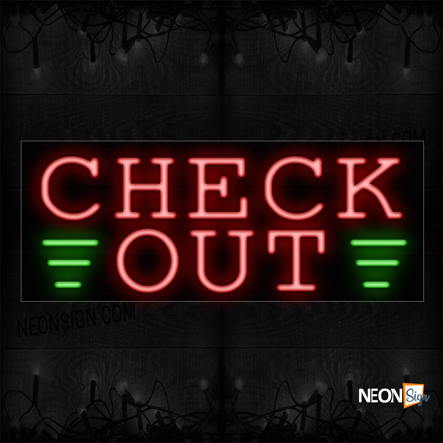 Image of 10765 Check Out With Broken Line Neon Sign_13x32 Black Backing