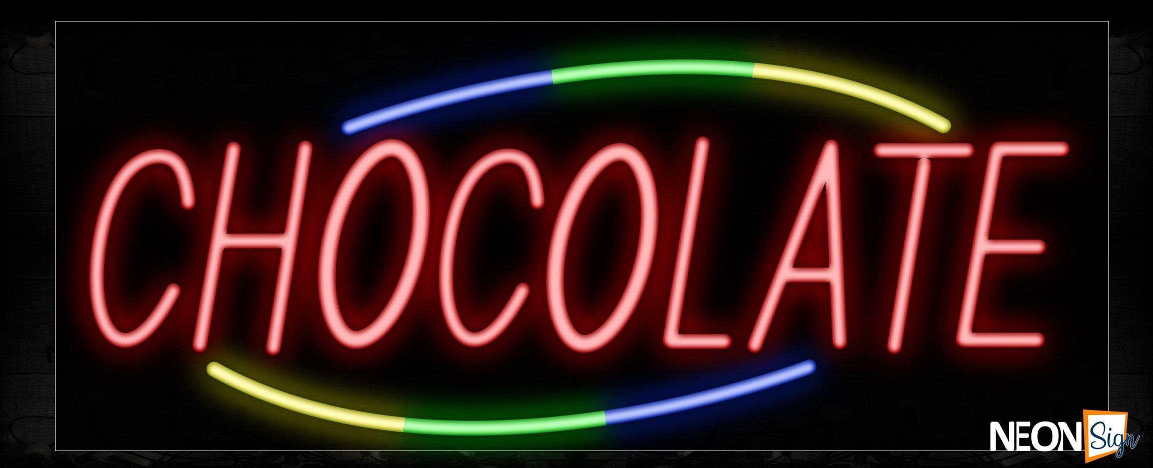 Image of 10766 chocolate with border led bulb sign_13x32 Black Backing
