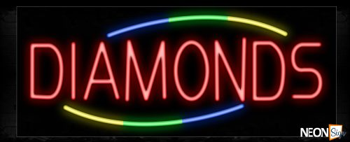 Image of 10781 Diamonds with colorful arc border Neon Sign_13x32 Black Backing