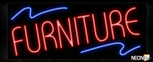 Image of 10800 Furniture with blue lines Neon Sign_13x32 Black Backing