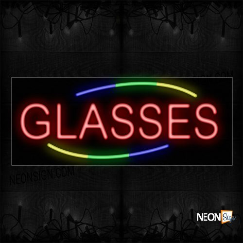 Image of 10804 Glasses In Red With Colorful Arc Border Neon Sign_13x32 Black Backing