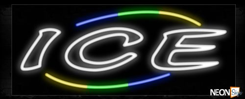 Image of 10814 Ice with arc border Neon Sign_13x32 Black Backing