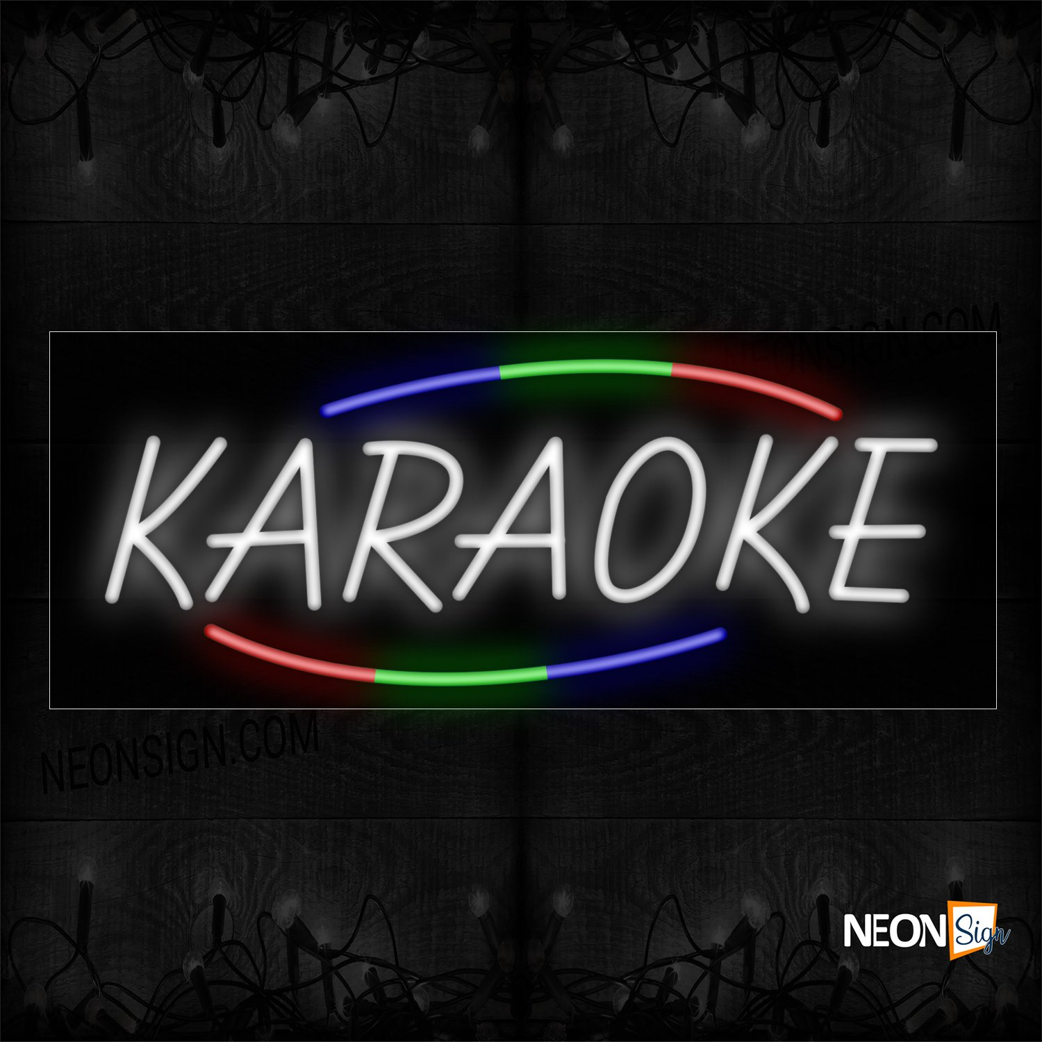 Image of 10820 Karaoke In White With Colorful Arc Border Neon Sign_13x32 Black Backing
