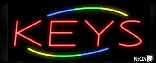 Image of 10822 Keys with colorful arc border Neon Sign_13x32 Black Backing