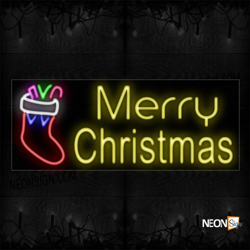 Image of 10835 Merry Christmas With Sock Logo Neon Sign_13x32 Black Backing