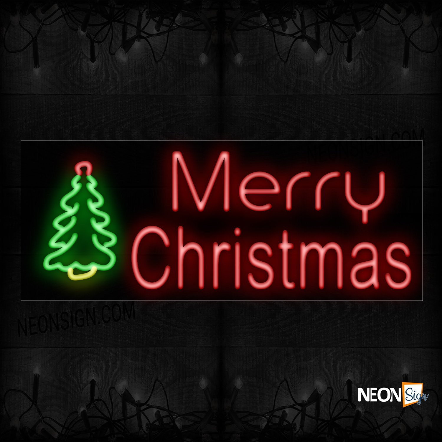 Image of 10836 Merry Christmas With Christmas Tree Logo Neon Sign_13x32 Black Backing