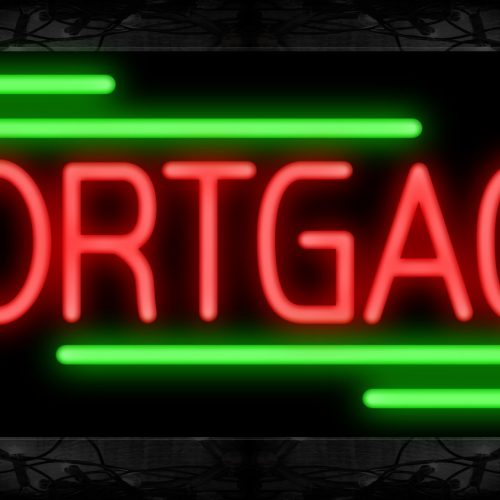 Image of 10838 Mortgage with broken line Neon Sign 13x32 Black Backing