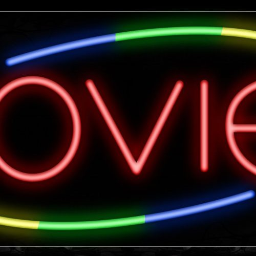 Image of 10840 Movies in red with colorful arc border Neon Sign_13x32 Black Backing