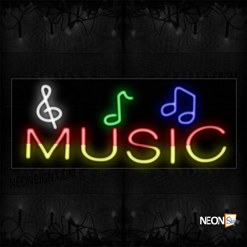 Image of 10843 Music With Music Notes Image border Neon Sign Neon Sign_13x32 Black Backing
