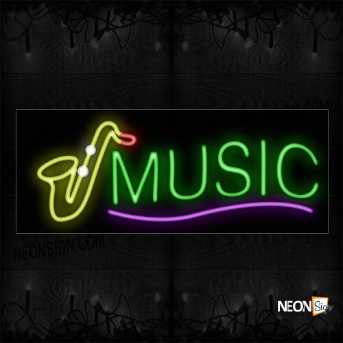 Image of 10846 Music With Trumpet Logo Neon Sign_13x32 Black Backing
