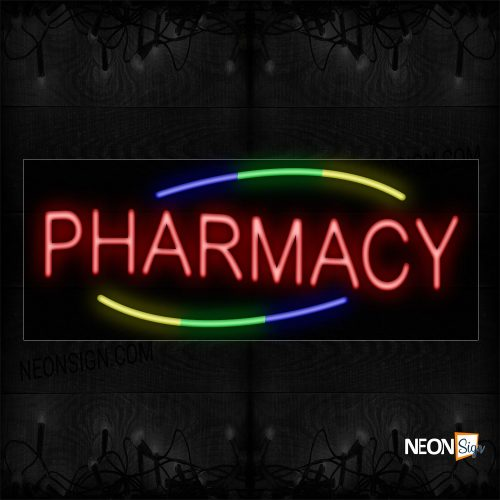 Image of 10868 Pharmacy With Colorful Arc Border Neon Sign_13x32 Black Backing