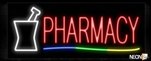 Image of 10869 Pharmacy with colorful lines and mortar Neon Sign_13x32 Black Backing