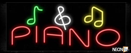 Image of 10871 Piano in red with music notes Neon Sign_13x32 Black Backing