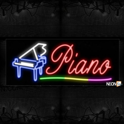 Image of 10872 Piano with instrument Neon Sign_13x32 Black Backing