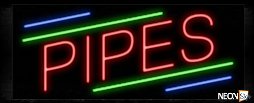 Image of 10875 Pipes in red with colorful lines Neon Sign_13x32 Black Backing
