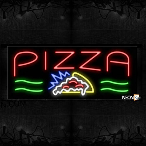 Image of 10877 Pizza with pizza logo Neon Sign_13x32 Black Backing