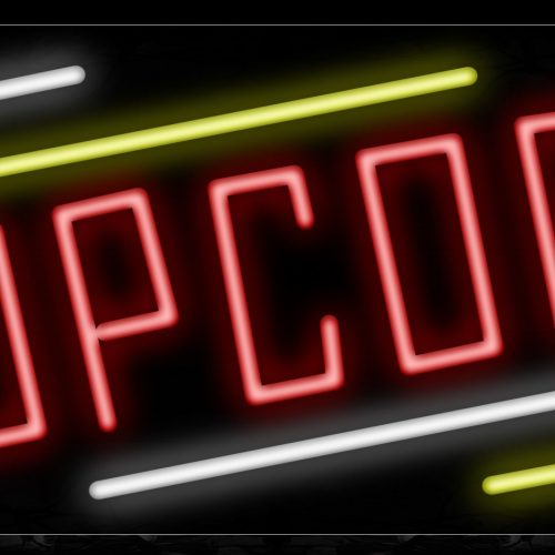 Image of 10879 Popcorn in red wtih white and yellow line Neon Sign_13x32 Black Backing