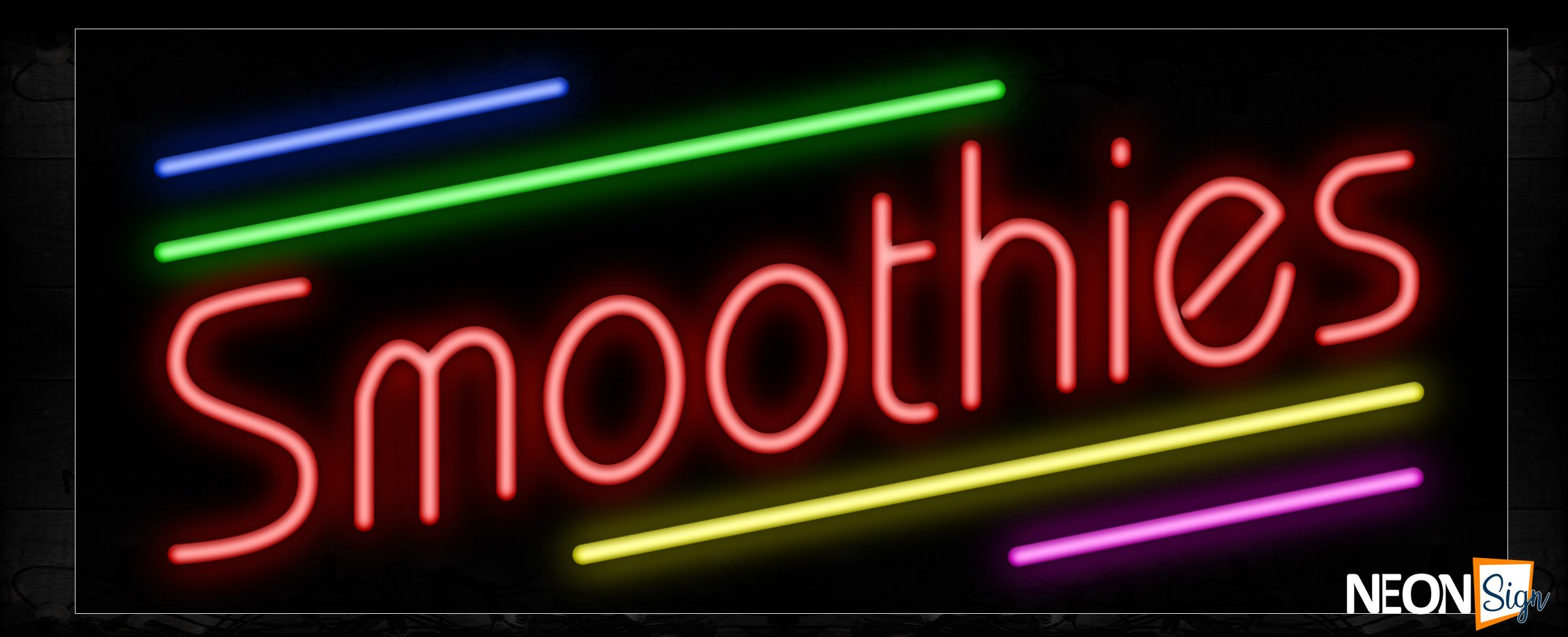 Image of 10900 Smoothies with colorful lines Neon Sign_13x32 Black Backing