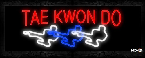Image of 10912 Tae Kwon Do with logo Neon Sign 13x32 Black Backing