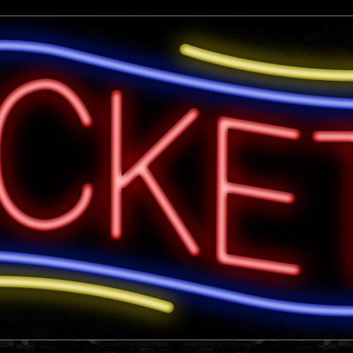 Image of 10921 Tickets in red with blue border and yellow lines Neon Sign_13x32 Black Backing