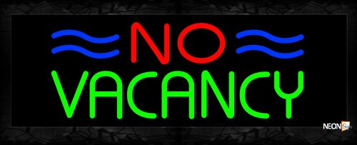 Image of 10929 No Vacancy with blue lines Neon Sign 13x32 Black Backing