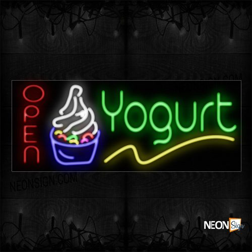 Image of 10932 Open Yogurt With Logo And Yellow Line Neon Signs_13x32 Black Backing