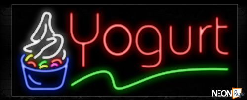 Image of 10933 Yogurt in red with green line and logo Neon Sign_13x32 Black Backing