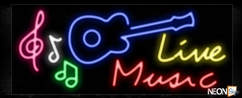 Image of 10940 Live Music with guitar & notes logo Neon Sign_13x32 Black Backing