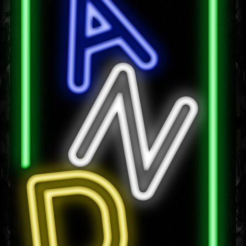 Image of 10975 Colorful double stroke CANDY with green border Neon Sign_32 x12 Black Backing