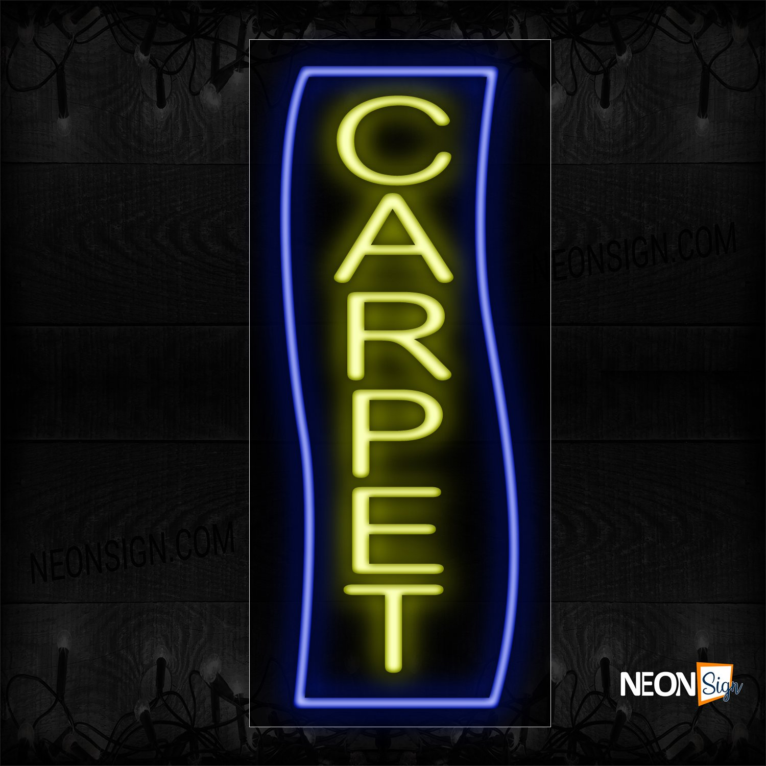 Image of 10977Carpet In Yellow With Blue Border (Vertical) Neon Sign_13x32 Black Backing