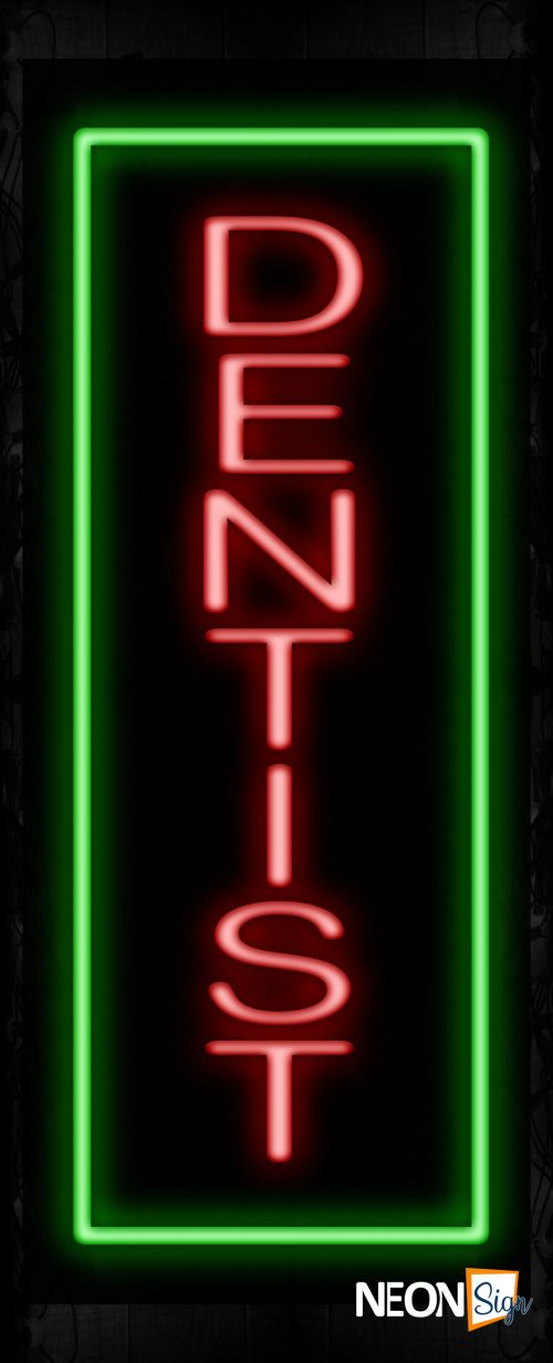 Image of 10984 Dentist with green border Neon Signs_32 x12 Black Backing