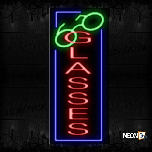 Image of 10989 Glasses In Red With Logo And Blue Border Neon Sign_13x32 Black Backing