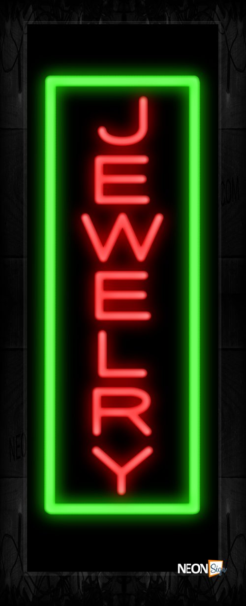Image of 10995 Jewelry in red with green border (Vertical) Neon Sign 13x32 Black Backing