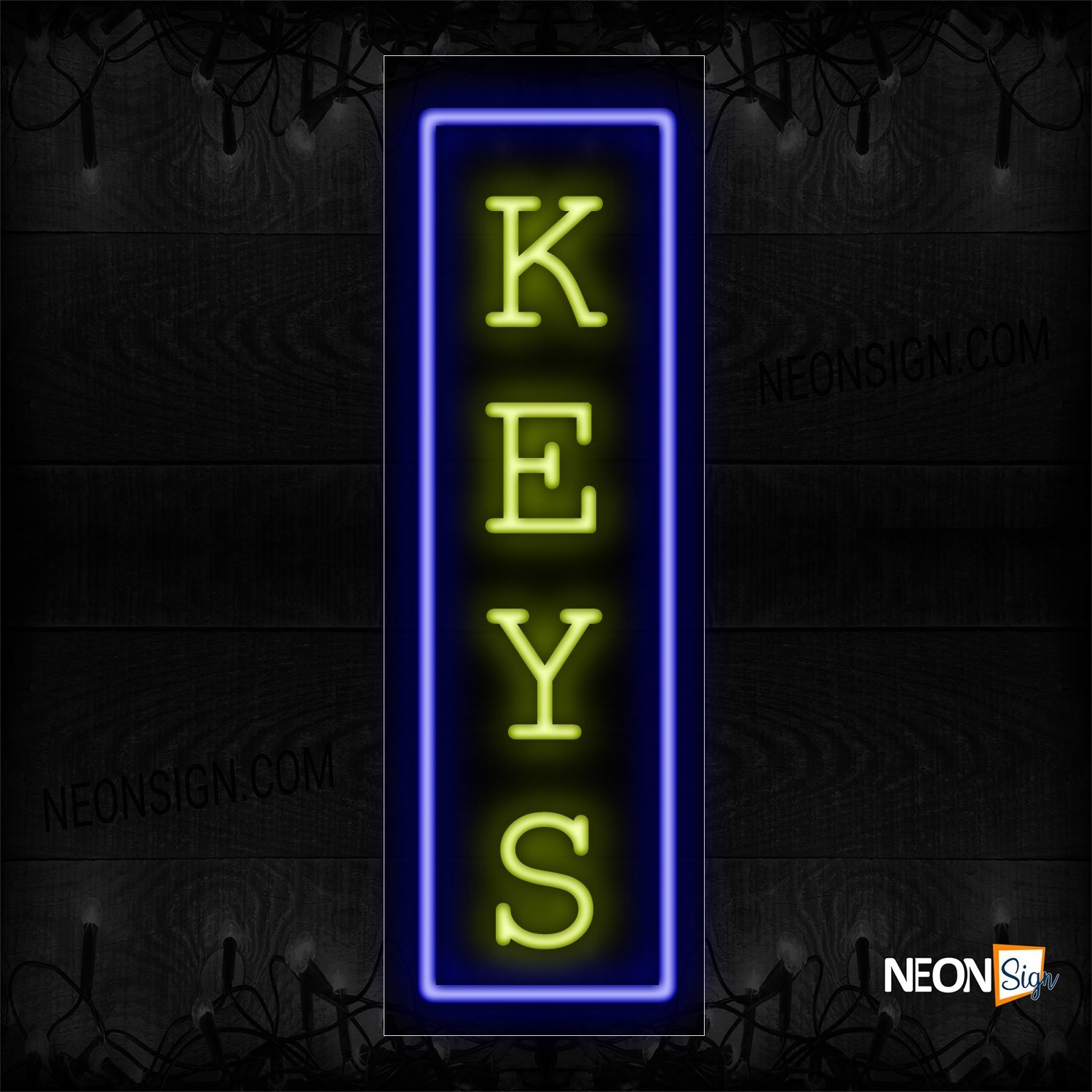 Image of 10997 Keys In Yellow With Blue Border Neon Sign - Vertical_13x32 Black Backing