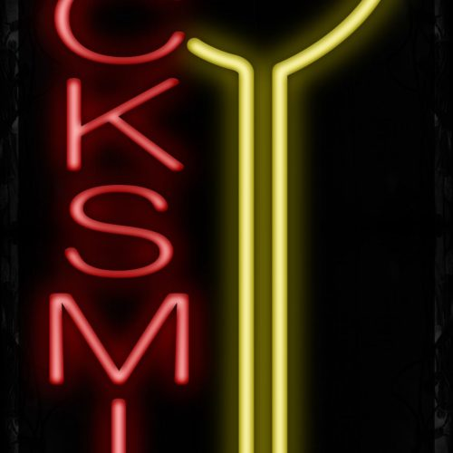 Image of 11003 Locksmith with key logo Neon Signs_32 x12 Black Backing