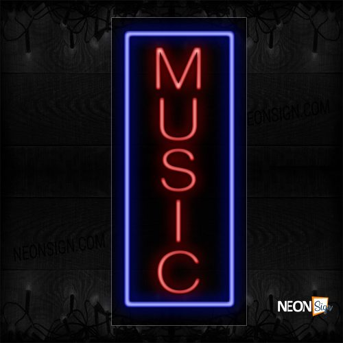 Image of 11007 Music With Blue Border Neon Sign_13x32 Black Backing
