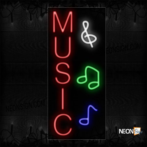Image of 11008 Music With Notes Logo (Vertical) Neon Sign_13x32 Black Backing